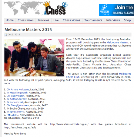 Melbourne Masters 2015 Chessdom